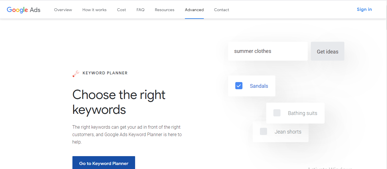 Google keyword planner - Free SEO Tools