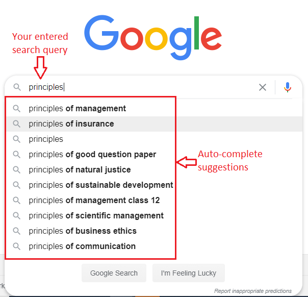 auto-complete suggestions