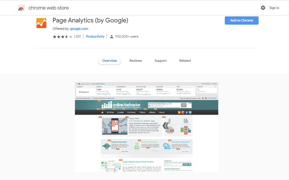 page analytics - Chrome Extensions for SEO